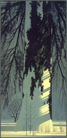 Trees In Snow - Eyvind Earle American 1916-2000