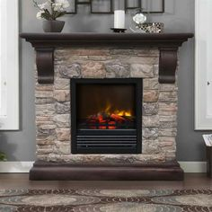 Portable Fireplaces With Grey Walls