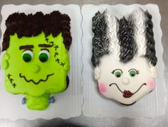 12 cupcakes each. Frankenstein and Bride of Frankenstei… Halloween cupcake cakes. 12 cupcakes each. Frankenstein and Bride of Frankenstei… Halloween Cupcakes, Holiday Cupcakes, Halloween Birthday, 12 Cupcakes, Cupcake Cakes, Cupcake Ideas, 4th Birthday, Halloween Baking, Halloween Desserts