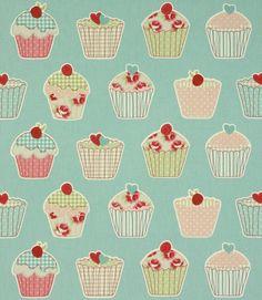 Cupcake Fabric in Blue - Just Fabrics http://www.justfabrics.co.uk/curtain-fabric-upholstery/blue-cupcakes-fabric/
