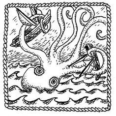 Kraken © 2012 Sylvia Liu Octopus Art, Kraken, Ceramics, Prints, Hall Pottery, Printmaking, Clay Pots