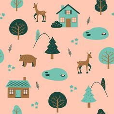 Part of my entry for Limited Color Palette @spoonflower challenge. Slide to see whole :) If you like it you can vote on spoonflower.com -> challenges (find my entry)  #spoonflower #surfacedesign #illustration #textileart #woodland #animals #nature #limitedcolorpalette