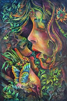 Earthly love by Josephine Wall Psychedelic Art, Psychedelic Experience, Fantasy Kunst, Fantasy Art, Twin Flame Stages, Twin Flame Love, Art Amour, Art Visionnaire, Josephine Wall