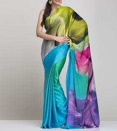 Blue And Green Satin Saree