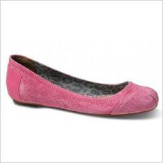 Toms Eliana pink suede ballet flats
