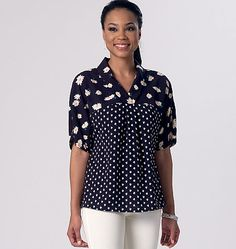 Breezy pullover top sewing pattern from McCall's. M7359 features a v-neck and dolman sleeves.