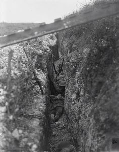 British troops asleep in a support trench prior to the attack on Beaumont Hamel, 1st July 1916.