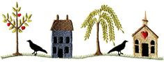 prim saltbox house and church borders embroidery