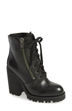Free shipping and returns on Ash 'Poker' Leather Boot (Women) at Nordstrom.com. A rubber block heel supports a leather moto boot styled with sleek side zip closures and a laced-up vamp.