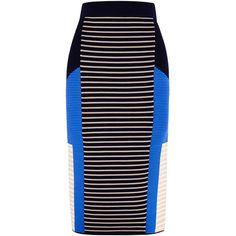 Jonathan Simkhai Knit Angle Skirt ($345) ❤ liked on Polyvore featuring skirts, knee length pencil skirt, knit skirt, high-waisted skirts, jonathan simkhai and colorblock skirt
