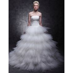 Lan Ting Ball Gown Plus Sizes Wedding Dress - Ivory Sweep/Brush Train Strapless Tulle – USD $ 149.99