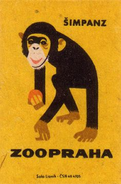 Prague Zoo: chimpanzee 1963; Czechoslovakia / matchbox label -Czechoslovak matchbox labels posted by oliver.tomas