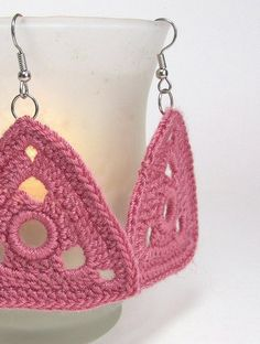 Triangle Earrings Raspberry Rose Geometric Dangle Crochet Jewelry Fashion Jewellery Doily Earrings Handmade by Lilena. $16.00, via Etsy.