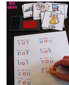 SOO many great word work ideas - stamping CVC words with alphabet stamps
