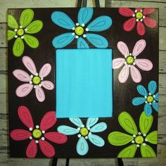 Brown with flowers Hand Painted Furniture, Painting Furniture, Painted Picture Frames, Creative Ideas, Diy Ideas, Craft Ideas, Decor Ideas, Arte Country, Paint Your Own Pottery