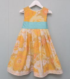Orange flowers girls party dress,  vintage fabirc