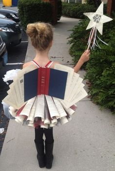 Book fairy costume recycled books skirt and wings made from recycled books!Book fairy costume recycled books skirt and wings made from recycled books! Halloween Parade School PlayOver 30 creative uses for old Diy Halloween Costumes For Kids, Holidays Halloween, Halloween Party, Halloween Decorations, Infant Halloween, Halloween Carnival, Group Halloween, Costume For Kids, Halloween Makeup