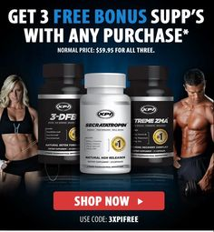 Get 3 FREE bonus supps when you spend over $59.95. Code '3XPIFREE'.