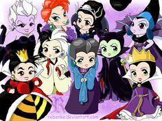 Ursula, Medusa, Queen Narissa, Yzma, Maleficent, Evil Queen, Lady Tremaine, Cruella de Vil, Queen of Hearts