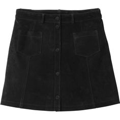 Monki Rudy suede skirt ($86) ❤ liked on Polyvore featuring skirts, black magic, black skirt, monki, button front skirt, black knee length skirt and button front a line skirt