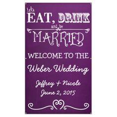 Rustic Chalkboard Eat Drink Be Married Wedding Banner