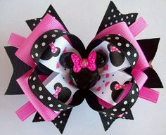 Minnie Mouse Inspired Hair Bow Pink and Black Boutique Girls, Toddler Hair Bow Toddler Hair Bows, Baby Hair Bows, Ribbon Hair Bows, Homemade Bows, Minnie Mouse, Bash, Disney Bows, Hair Bow Tutorial, Handmade Hair Bows