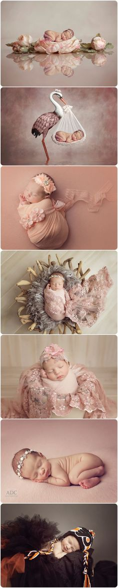 Custom newborn photos for a girl. Digital newborn composites. Flyers newborn photo ideas.