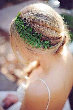 fern hair accessory and braid wedding hairstyles / http://www.deerpearlflowers.com/greenery-fern-wedding-ideas/