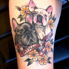 40 ideas dogs tattoo portrait french bulldogs for 2019 Mirror Tattoos, Puppy Tattoo, French Bulldog Tattoo, Tattoos For Dog Lovers, Boy Tattoos, Tatoos, Tattoo You, Tattoo Inspiration, Body Art
