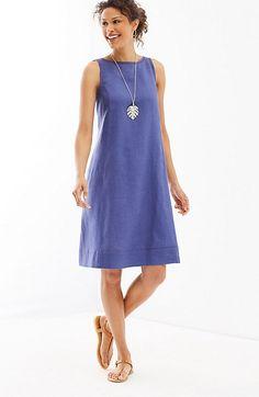J.Jill - majestic blue linen A-line sleeveless dress