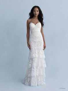 Style #Tiana-D268 Sample available at Ellynne Bridal (Lincoln, Nebraska) for National Bridal Sale: July 17th - July 24th 2021. Visit our website or call to book an appointment: (402)-489-7770 Disney Wedding Dresses, Princess Wedding Dresses, Disney Weddings, Wedding Disney, Princess Bridal, Bridal Gowns, Wedding Gowns, Strapless Lace Wedding Dress, Tiered Wedding Dresses