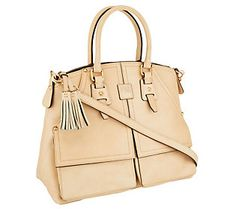 Dooney & Bourke Florentine Leather Clayton Satchel in Bone. Love this bag! My current fave, stood up well in the rainy weather.