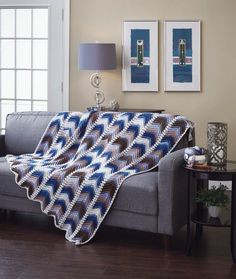 Chevron Panels Throw - A beautiful design to crochet for your home. The Chevron Panels Throw, for the intermediate crocheter, is crocheted in nine panels using the gorgeous colors of Mary Maxim Prism 100% acrylic yarn and joined together using Mary Maxim Best Value 100% acrylic worsted weight yarn. Due to the nature of Prism yarn, no two throws will have exactly the same color placement, making each throw unique.
