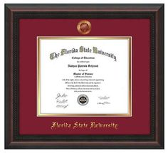 florida state university diploma frame this mahogany braid diploma frame features a gold leaf embossed - Diploma Frames With Tassel Holder