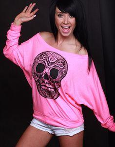 Skull Off Shoulder Long Sleeve! #neonskull