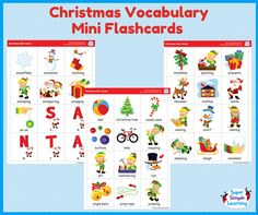 Downloadable set of 36 Christmas and winter themed mini flashcards to go with the Super Simple Learning - Christmas CD and DVD.  #printables