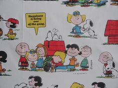 Vintage Peanuts Cartoon Flat Sheet and Two Pillowcases 1971. My sister and I both had these.