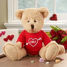 This Personalized Valentine's Day Teddy Bear is so cute!!! You can personalize it with any name - it's the cutest Valentine's Day Gift for kids or adults!