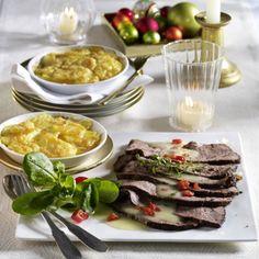Roastbeef mit Pfefferkruste zu Kartoffel-Gratin  Rezept