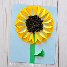 sunflower - flower kid crafts - acraftylife.com #preschool #craftsforkids #crafts #kidscraft