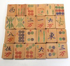 30 pcs Vintage Bamboo Mahjong Majong Game Tiles Steampunk Craft Jewelery Making #majong #chinese #game