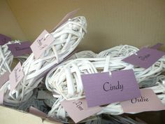 White Hearts with wedding guests names attached.  www.capeoflove.com