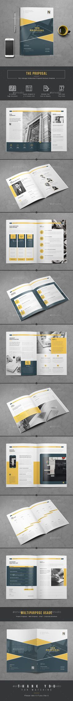 Buy Proposal by themedevisers on GraphicRiver. Proposal InDesign/Word Template Want to send a business or project proposal to prospective client? This 20 page Profe. Graphisches Design, Page Design, Book Design, Cover Design, Layout Design, Cv Inspiration, Graphic Design Inspiration, Editorial Layout, Editorial Design