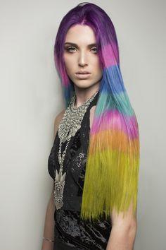 The Color Blocked Hair Dye Trend Takes Rainbow Hair to the Next Level via Brit + Co.:  Moon used PRAVANA'sVIVIDS LOCKED-INhair dye to create this segmented look