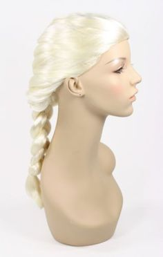 Frozen Disney Elsa Girl/'s Wig Light Blonde Braided Pigtails Headband w// Crown