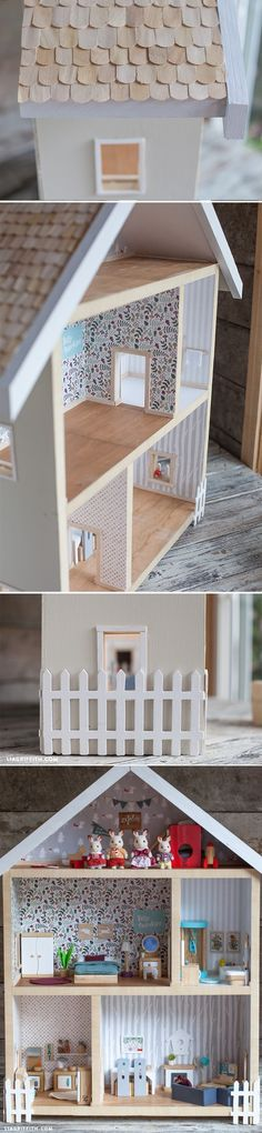 #Makeadollhouse #giveahome at www.LiaGriffith.com Maison poupée playmobil bricolage enfant kids diy home made