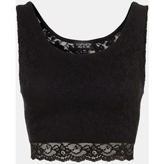 Topshop Lace Crop Tank Black 10 ($12) ❤ liked on Polyvore featuring tops, shirts, crop tops, blusas, tank tops, cut-out crop tops, shirt top, short shirts, sheer top and lacy tops