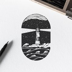 Check out this great by Dario Anza (Ariaros… Check out this great by Dario Anza (Ariarosso) of a lighthouse illuminating through the darkness of a stormy night to help bring those at sea safely home. Best Tattoo Designs, Ink Illustrations, House Illustration, Ink Art, Art Sketches, Sketch Drawing, Magic Drawing, Drawing Tips, Tattoo Drawings