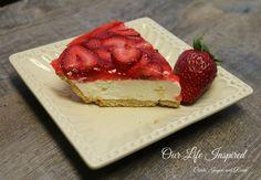 No Bake Strawberry Cheese Cake.  www.ourlifeinspired.com
