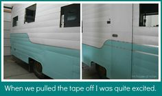 Here are 5 options for vintage camper exterior paint. Check this out before you paint your vintage camper and see what has worked for other vintage campers. Vintage Rv, Vintage Caravans, Vintage Travel Trailers, Shasta Trailer, Camper Trailers, Retro Trailers, Retro Campers, Vintage Campers, Vintage Motorhome
